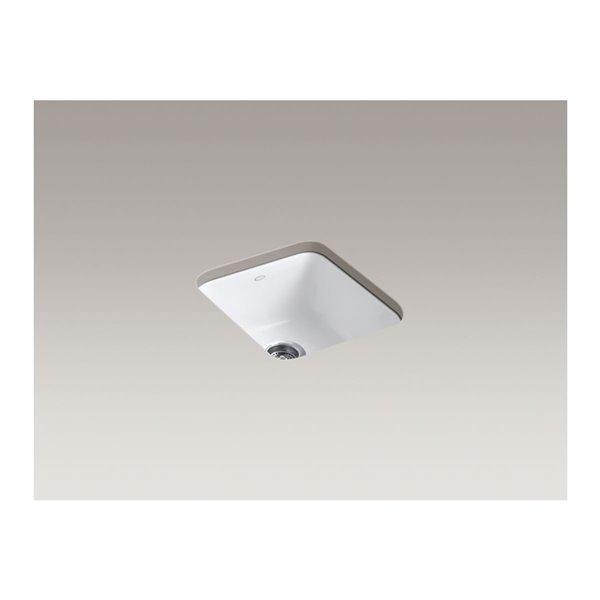 KOHLER Iron/Tones Square Top-Mount/Undermount Single-Bowl Kitchen Sink - Sea Salt - 17-in