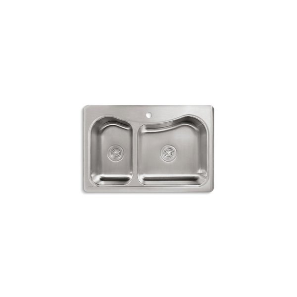 KOHLER Staccato Large/Medium Top-Mount Sink with Single Hole - Stainless Steel - 33-in