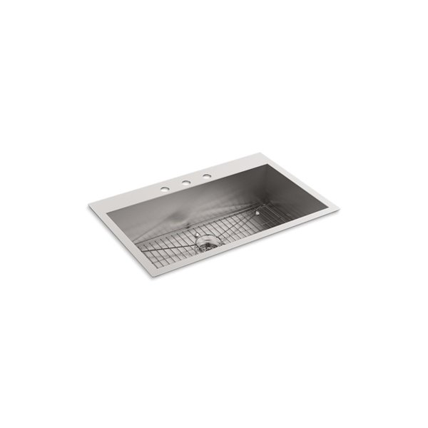 KOHLER Vault Top-Mount or Under-Mount Sink with Three Faucet Holes - Stainless Steel - 33-in