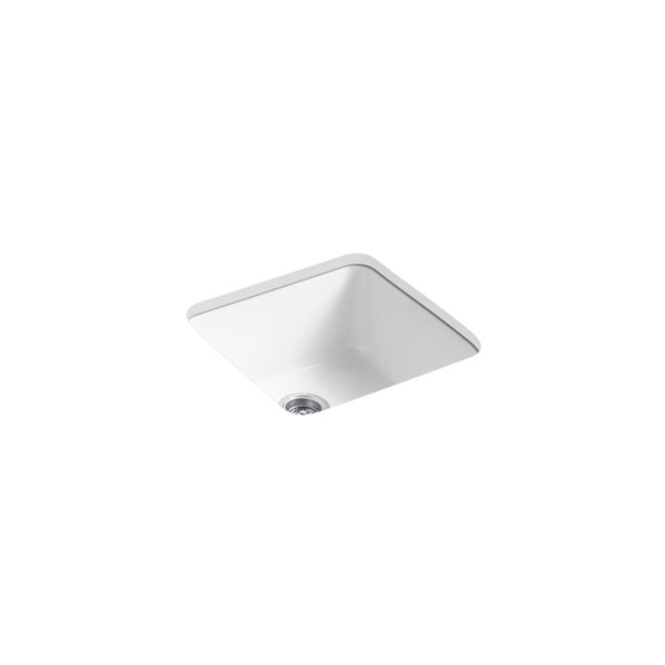 KOHLER Iron/Tones Square Top-Mount/Undermount Single-Bowl Kitchen Sink - White