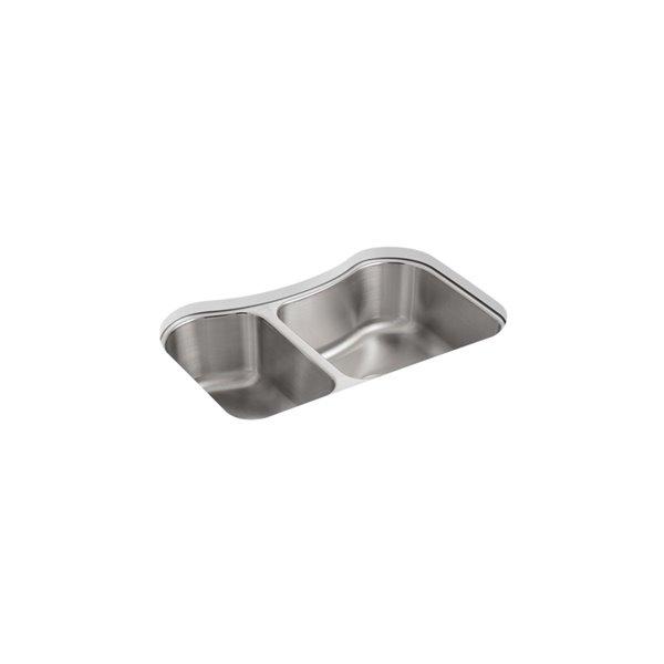 KOHLER Staccato Under-Mount Large/Medium Kitchen Sink - Stainless Steel - 32-in