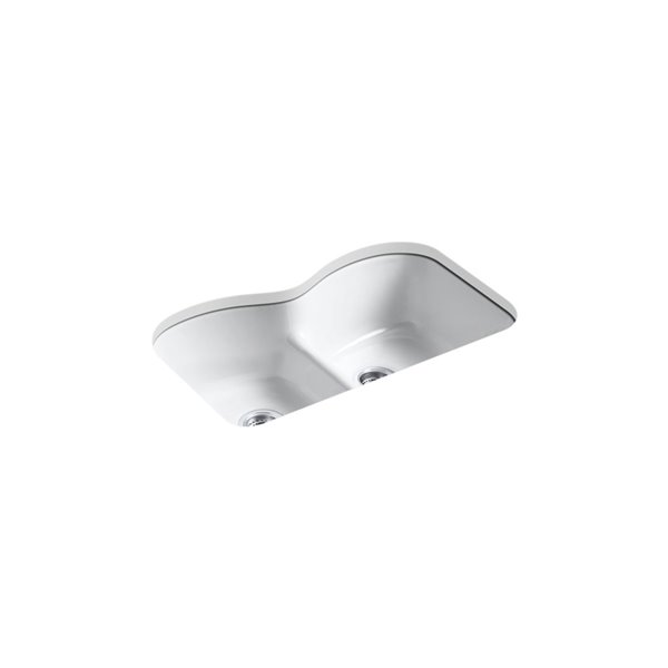 KOHLER Langlade Under-Mount Sink with 6 Oversized Faucet Holes - White - 33-in