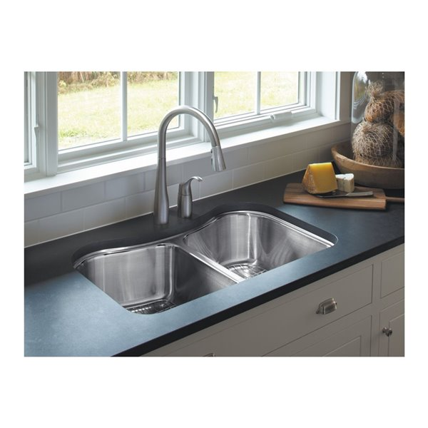 KOHLER Staccato Undermount double-equal kitchen sink - Stainless Steel - 31.62-in
