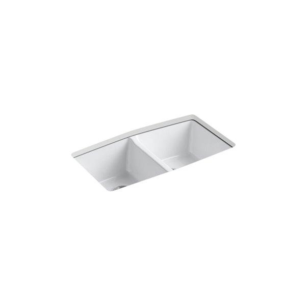 Évier de cuisine KOHLER Brookfield à double cuve égale en sous-surface, 5 trous de robinet, blanc, 33po