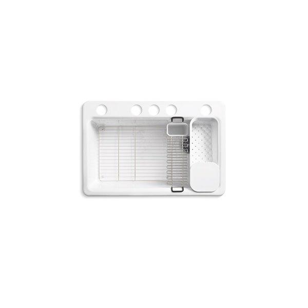 KOHLER Riverby Under-Mount Kitchen Sink with Accessories - White - 33-in