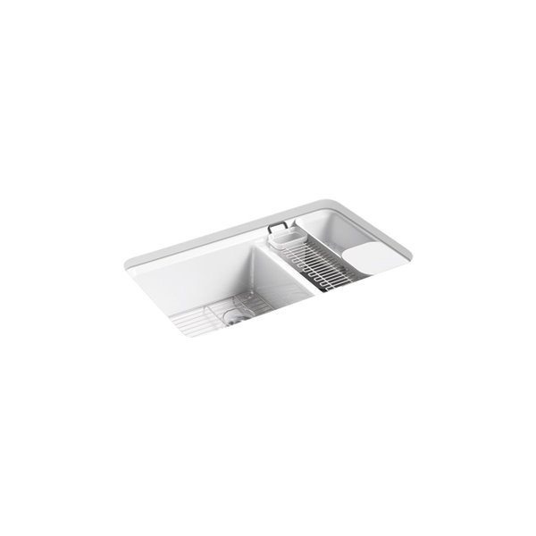 KOHLER Riverby Undermount Large/Medium Double-Bowl Kitchen Sink with Accessories - White - 33-in