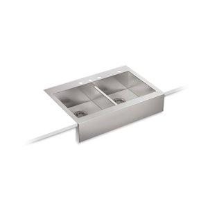 Évier de cuisine KOHLER Vault Self-Trimming à double cuve égale et tablier frontal, installation en surface, 35.75 po
