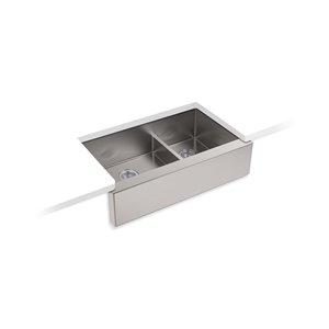 Évier de cuisine KOHLER Strive SmartDivide à double cuve grande/moyenne et tablier long, installation en sous comptoir, 34 po