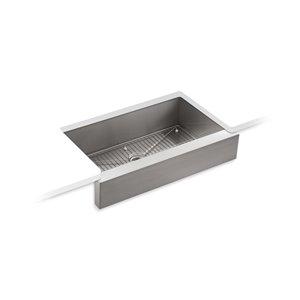 Évier de cuisine KOHLER Vault installation en sous-surface avec tablier court, acier inoxydable, 35.5 po
