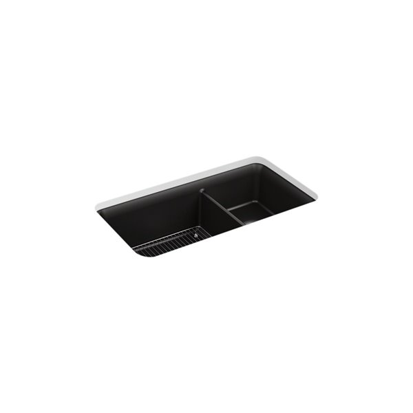KOHLER Cairn Neoroc Undermount Double-Bowl Large/Medium Kitchen Sink with Rack - Black Matte - 33.5-in