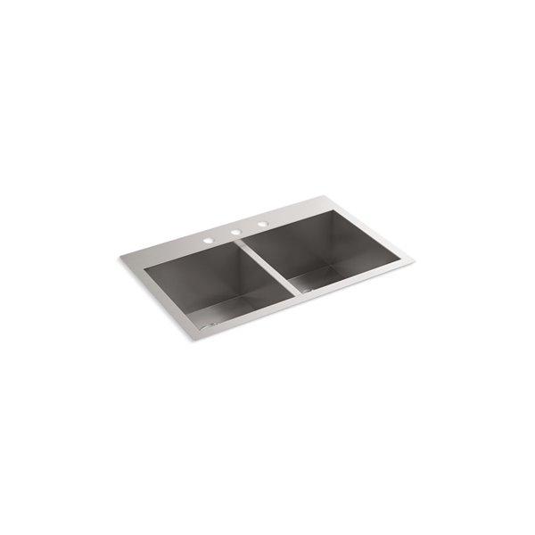 Évier de cuisine KOHLER Vault à double cuve égale, installation encastrée ou sous-surface, 3 trous de robinet, 30.5 po