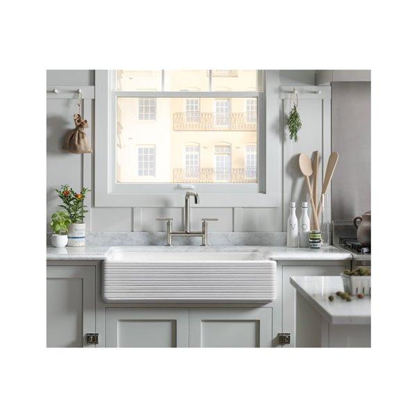 Kohler Hayridge Whitehaven Undermount Single Bowl Farmhouse Kitchen Sink White 34 In 6351 0 Rona