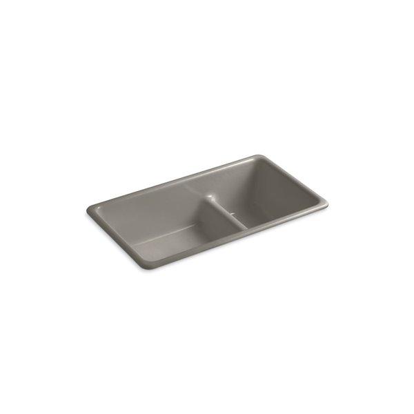 KOHLER Iron/Tones Smart Divide Top-Mount/Undermount Large/Medium Kitchen Sink - Cashmere - 33-in
