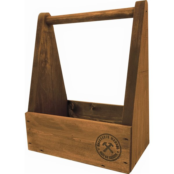 McNeil Beer crate in pine - Antique Brown - 12-in x 9.5-in x 6-in