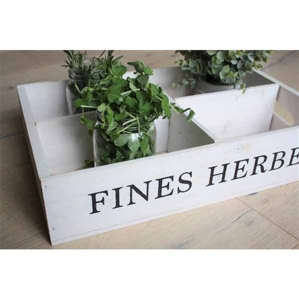 McNeil Wooden Fines Herbs Crate -  White -17-in x 10.75-in x 3.75-in