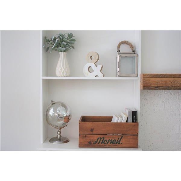 Caisse de rangement en bois vintage McNeil, brune, 17 po x 10.5 po x 7.5 po