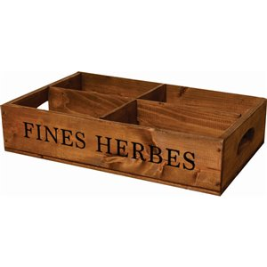 McNeil Wooden Fines Herbs Crate -  Old Brown -17-in x 10.75-in x 3.75-in