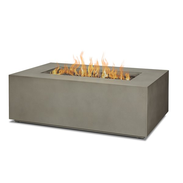 Real Flame Aegean Small Rectangle LP Outdoor Gas Fire Table with NG Conversion kit in Mist Gray - 50,000 BTU - 26-in x 41.75-in