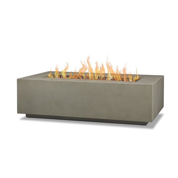 Real Flame Aegean Large Rectangle Lp Outdoor Gas Fire Table With Ng Conversion 50 000 Btu Mist Gray 32 In X 50 In C9813lp Mgry Rona