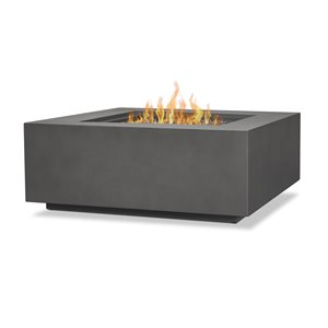 Real Flame Aegean Square LP Outdoor Gas Fire Table with NG Conversion - Weathered Slate - 50,000 BTU - 36-in x 36-in