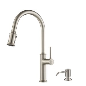 KRAUS Single Handle Pull Down Kitchen Faucet with Deck Plate and Soap Dispenser - Stainless Steel