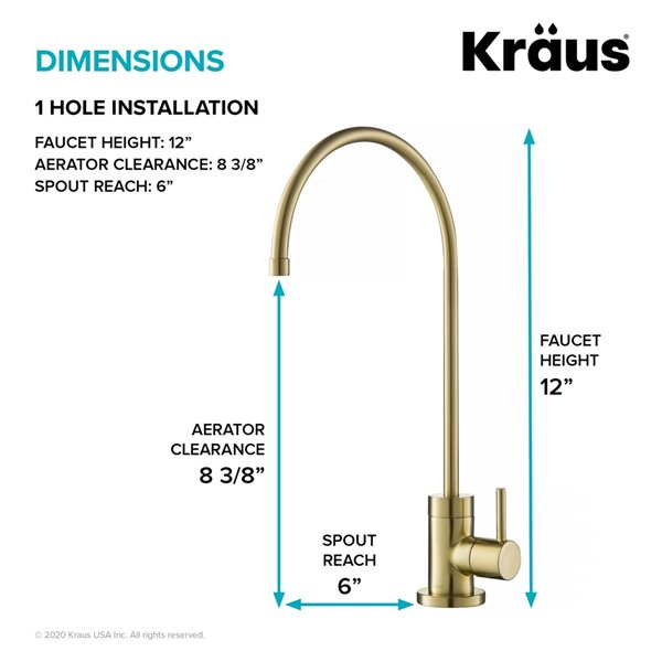 KRAUS Purita Drinking Water Dispenser Beverage Kitchen Faucet - Brushed Gold - 12-in