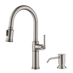 KRAUS Single Handle Pull-Down Kitchen Faucet with Soap Dispenser and Deck Plate - Stainless Steel