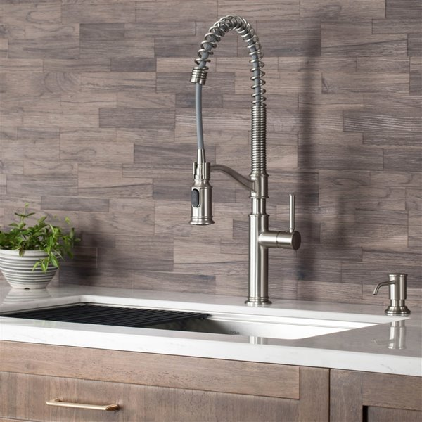 KRAUS Pull-Down Kitchen Faucet with Deck Plate and Soap Dispenser - Stainless Steel