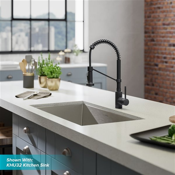 KRAUS Bolden Single Handle Commercial Kitchen Faucet with Deck Plate in Matte Black Finish - 18-in