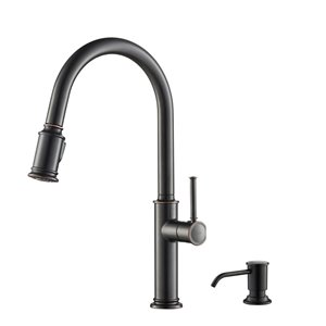 KRAUS Sellette Single Handle Pull Down Kitchen Faucet with Deck Plate and Soap Dispenser - Oil Rubbed Bronze
