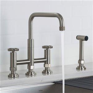 KRAUS Urbix Industrial 2-handle Deck Mount Bridge Kitchen Faucet - Stainless Steel