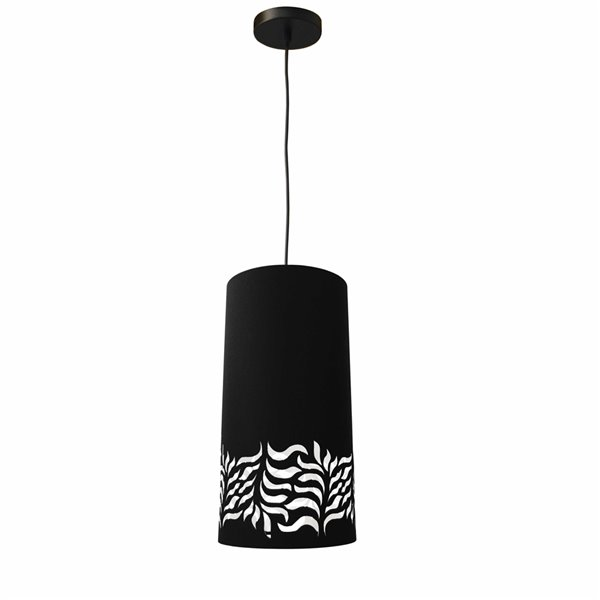 Dainolite Glora Pendant Light - 1-Light - 8-in x 16-in - Matte Black/Black/White