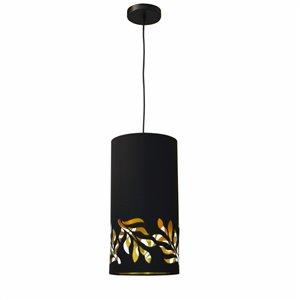Dainolite Flora Pendant Light - 1-Light - 8-in x 16-in - Matte Black/Gold