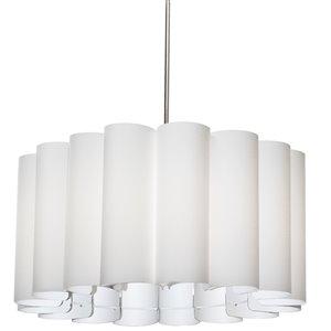 Dainolite Sandra Pendant Light - 4-Light - 24-in x 12-in - Polished Chrome/White