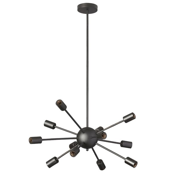 Dainolite Bristol Chandelier - 12-Light - 9-in - Matte Black
