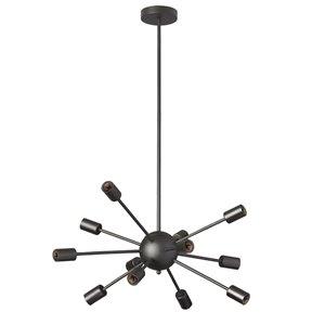 Dainolite Bristol Chandelier - 12-Light - 9-in - Matte Black