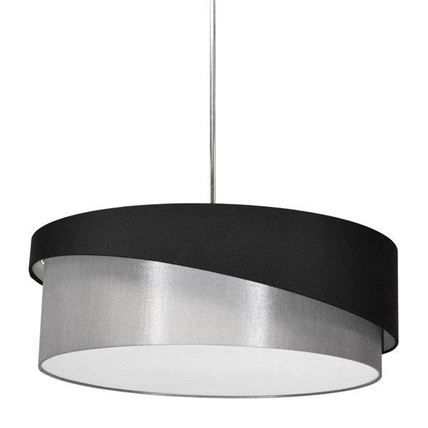 Luminaire suspendu à 1 lumière Jazlynn de Dainolite, 24 po x 8 po, chrome poli/noir/argent