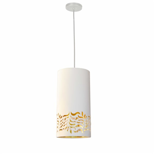 Dainolite Glora Pendant Light - 1-Light - 8-in x 16-in - Matte White/Gold