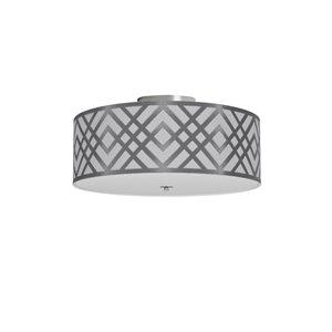 Dainolite Mona Flush-Mount Light - 3-Light - 15-in x 7-in - Silver and White