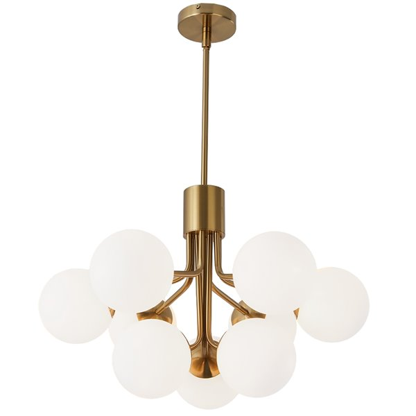 Dainolite Amanda Chandelier - 9-Light - 15.75-in - Aged Brass