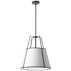 Luminaire suspendu à 3 lumières Trapezoid de Dainolite, 24 po x 26 po, noir mat/blanc