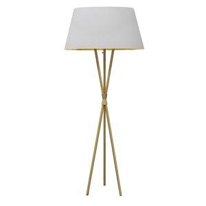 Lampe sur pied Gabriela de Dainolite, 1 lumière, 60,5 po, laiton vieilli/blanc