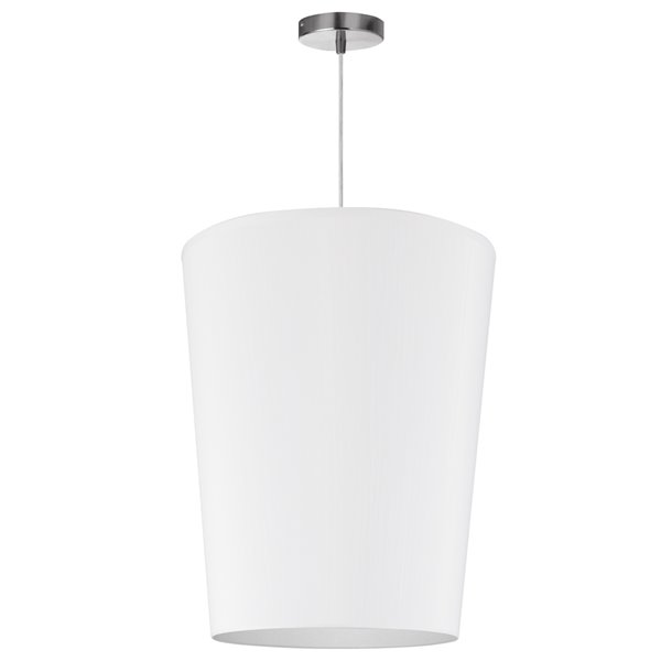 Dainolite Paisley Pendant Light - 1-Light - 16-in x 20-in - Polished Chrome/White