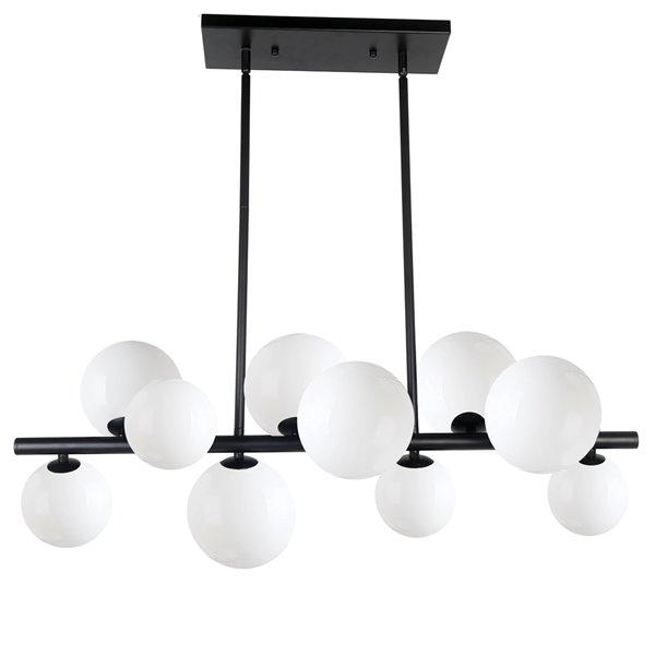Luminaire suspendu à 10 lumières Glasgow de Dainolite, 31 po x 11 po, noir mat/blanc