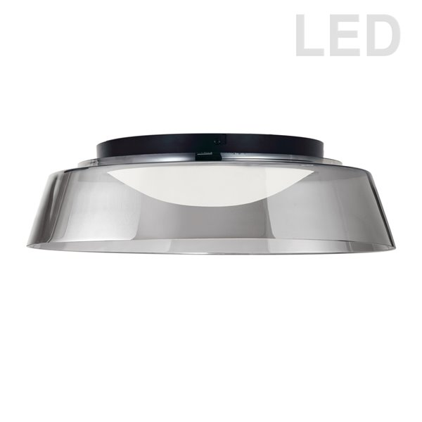 Dainolite Crawford Flush-Mount Light - 1-Light - 18-in x 5.1-in - Matte Black