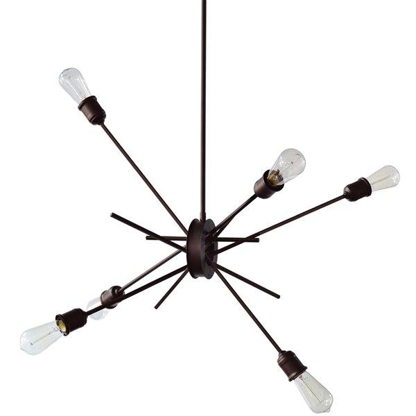 Dainolite Nebraska Pendant Light - 6-Light - 8-in x 32-in - Espresso