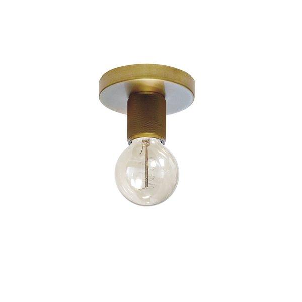 Dainolite Roswell Flush-Mount Light - 1-Light - 4.75-in x 3.15-in - Aged Brass
