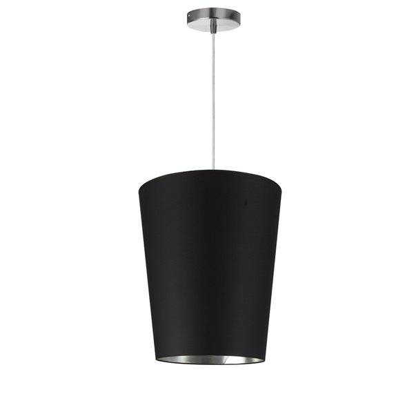 Luminaire suspendu à 1 lumière Paisley de Dainolite, 11 po x 14 po, chrome poli/noir/argent