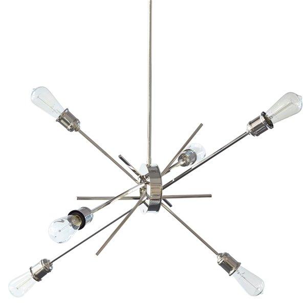 Dainolite Nebraska Pendant Light - 6-Light - 8-in x 32-in - Chrome