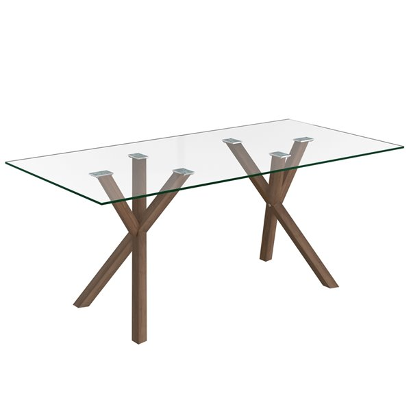 WHI Contemporary Clear Glass and Metal Dining Table - Walnut - 71-in